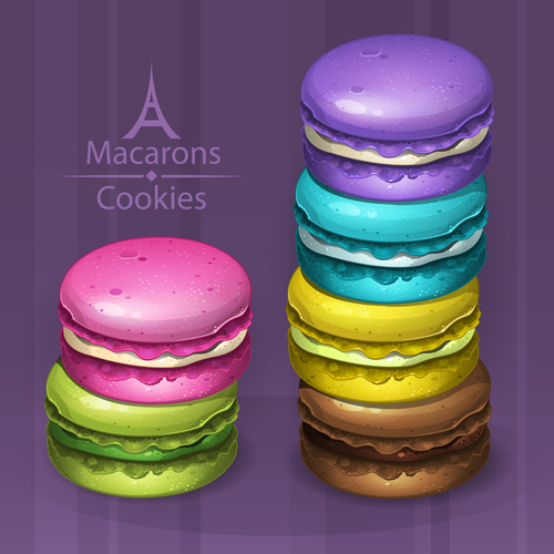 Colorful macaroons cookies vector 01