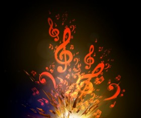 Colorful music explosion background vector 02