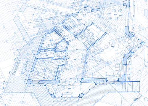 Wonderful Construction Building Blueprint Design Vector 04
