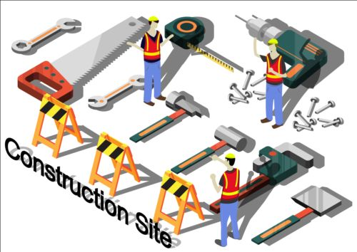Construction site isometry infographic vector 03