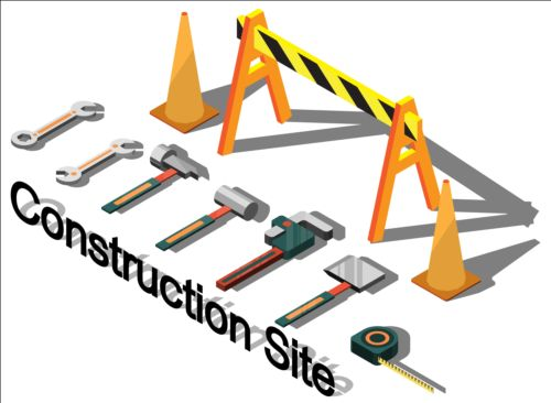 Construction site isometry infographic vector 08