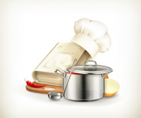 Cooking book with vegetables and pot vector 01