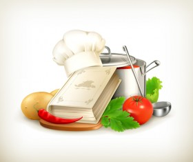 Cooking book with vegetables and pot vector 02