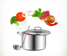 Cooking pot and vagetables vector