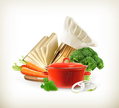 Cooking pot and vagetables with cookbook vector