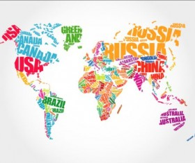 Country text with world map vector