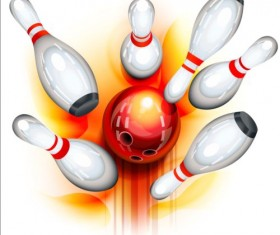 Creative bowling vector background 03