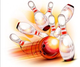 Creative bowling vector background 04