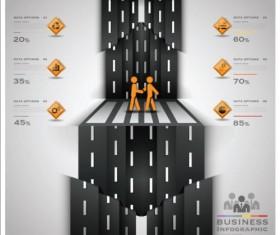 Creative road marking Infographics vector graphics 02