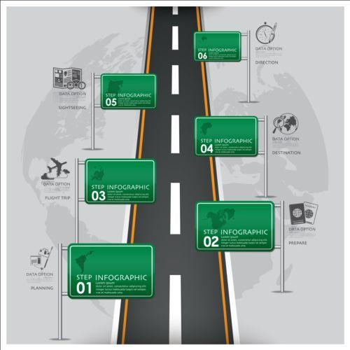 Creative road marking Infographics vector graphics 04