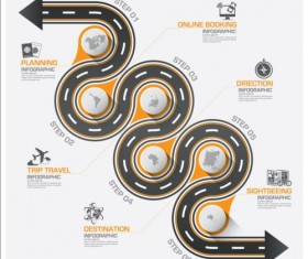 Creative road marking Infographics vector graphics 07