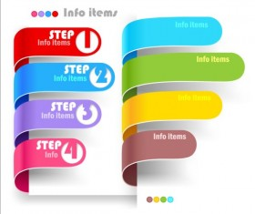 Curled banners infographic vectors set 01