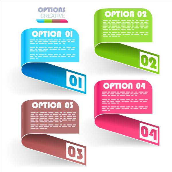 Curled banners infographic vectors set 03