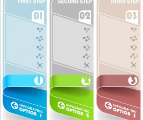 Curled banners infographic vectors set 05