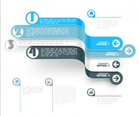 Curled banners infographic vectors set 07