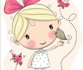 Cute cartoon girls design vector 07