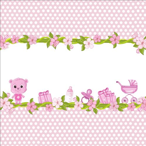 Cute floral border with baby card vector 01 free download