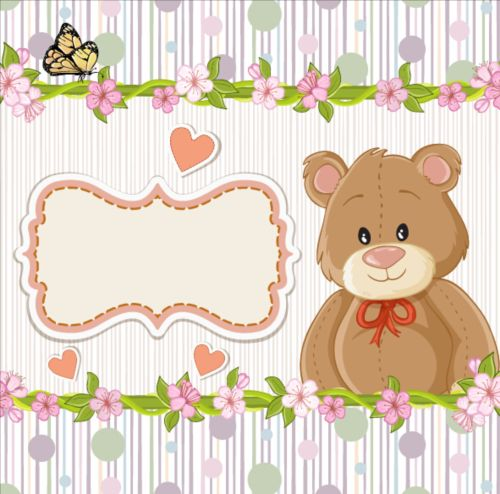 Cute floral border with baby card vector 03 free download
