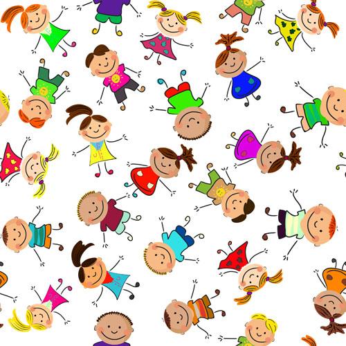 Cute kids patter seamless vector 02
