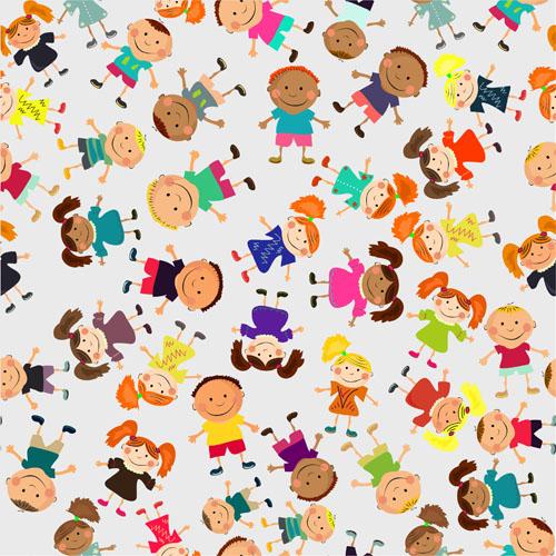 Cute kids patter seamless vector 03