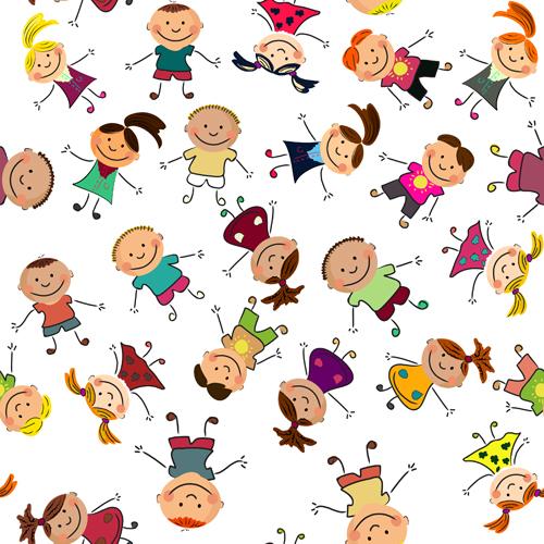 Cute kids patter seamless vector 07