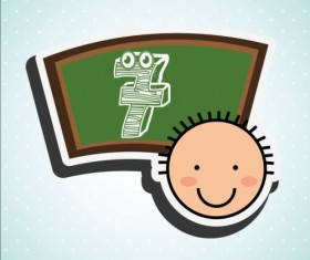 Cute student with blackboard vector sticker 01