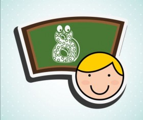 Cute student with blackboard vector sticker 02