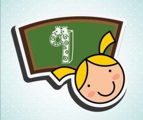 Cute student with blackboard vector sticker 03