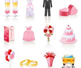 Cute wedding icons set 01