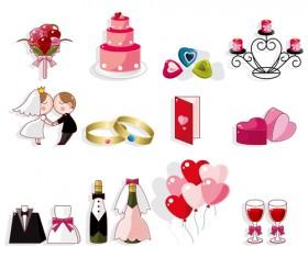 Cute wedding icons set 02