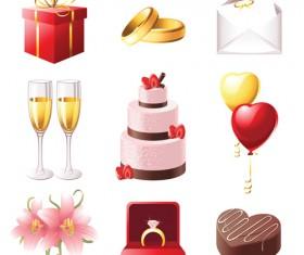 Cute wedding icons set 03