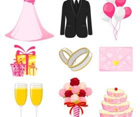 Cute wedding icons set 04