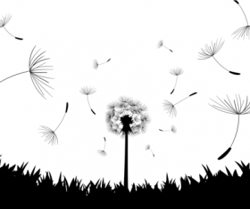 Dandelion black illustration vector 02