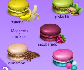 Different tastes macaroons vector 01