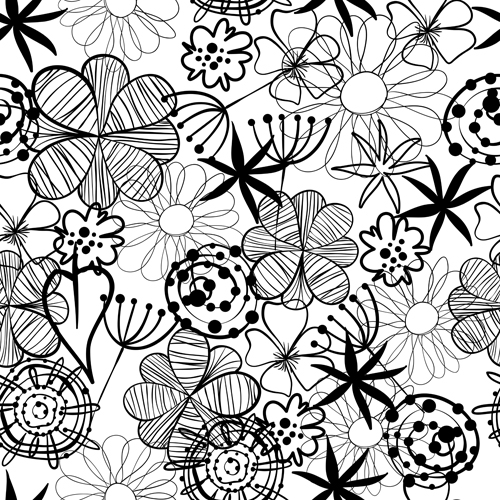 Vector Line Drawing Flower Pattern : Doodle flowers hand drawing vector pattern