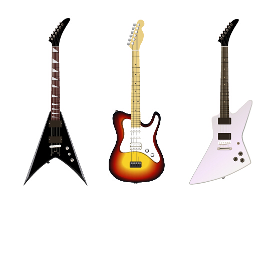 Electric guitar vector set 01 - Vector Music free download
