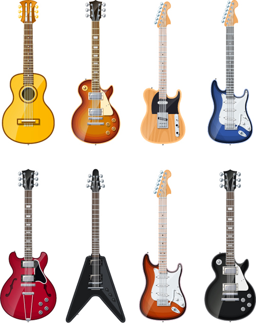 Electric guitar vector set 02 - Vector Music free download