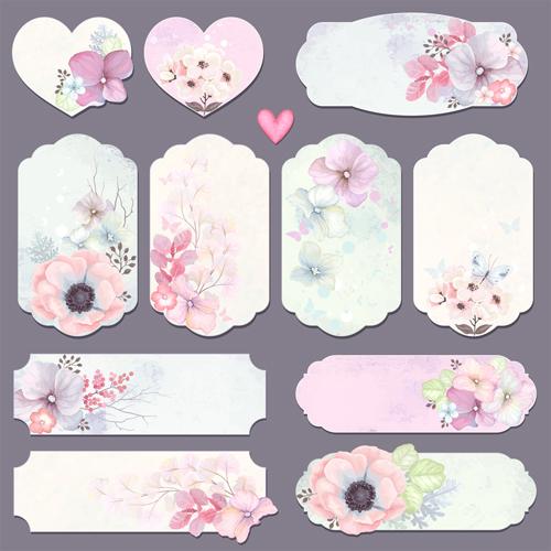 Elegant flower card with banner vector