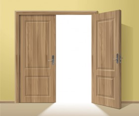 Exquisite wooden doors design vector 01