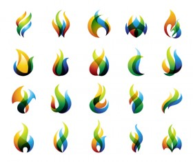 Fire colored logos vector set