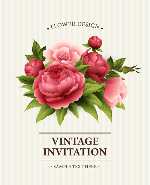 Flower Design Vintage Invitations Card Vector 05 Vector
