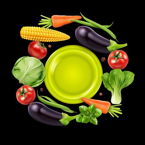 Fresh vagetables background art vector 04