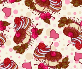 Fruits with cake seamless pattern vector 02