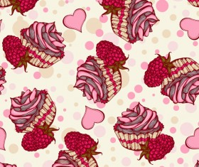 Fruits with cake seamless pattern vector 03