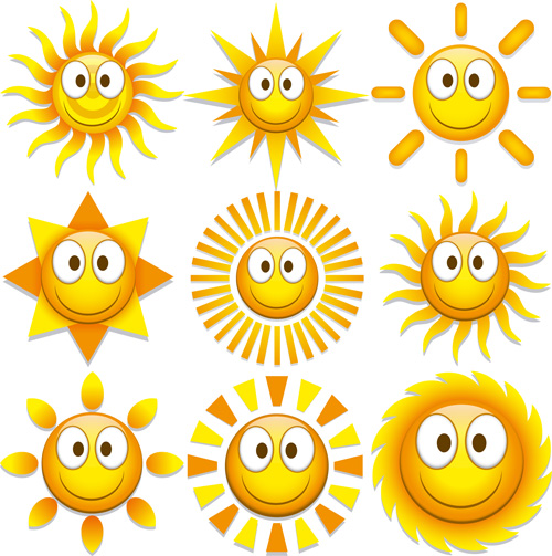Funny sun face expression icon vector set