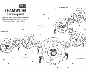 Gearwheel with teamwork template vector 02