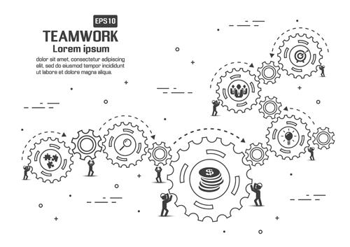 Gearwheel with teamwork template vector 02