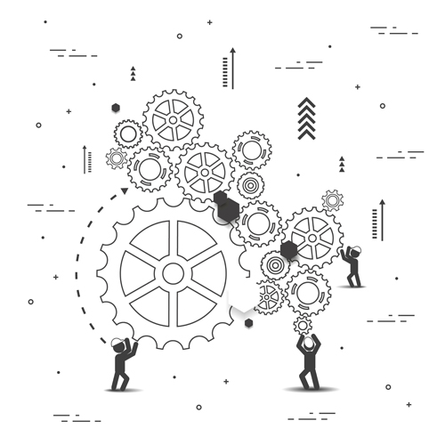 Gearwheel with teamwork template vector 03