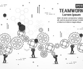 Gearwheel with teamwork template vector 04