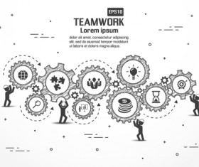 Gearwheel with teamwork template vector 05